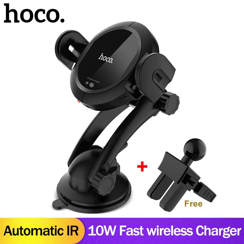 HOCO Qi drahtlose Auto Ladegerät Stehen Automatische infrarot clip Air Vent Halterung Auto Handy Halter 10 watt Schnelle Ladegerät für iphone XS Max XR