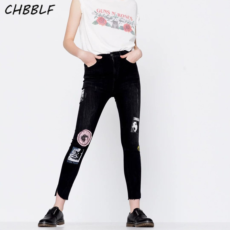 New jeans for spring and summer women black jeans high waist fashion appliques denim pencil pants XDJ9717 2017 new jeans women spring pants high waist thin slim elastic waist pencil pants fashion denim trousers 3 color plus size