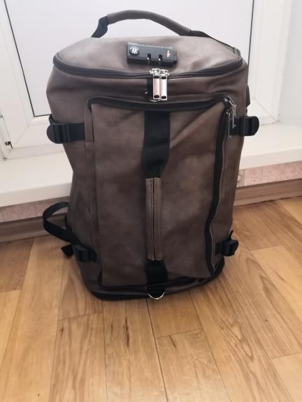 New Fashion Waterproof Backpack Men Backpack Leather Bookbags Mens Pu School Bags Male Functional Bags Big Capacity Men Bag photo review