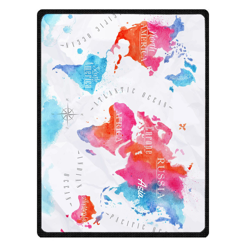 Soft Warm Blanket Coral plaids Blankets Travel Sofa World Map print Fleece Blankets For Bed Soft Fluffy Warm Coverlet