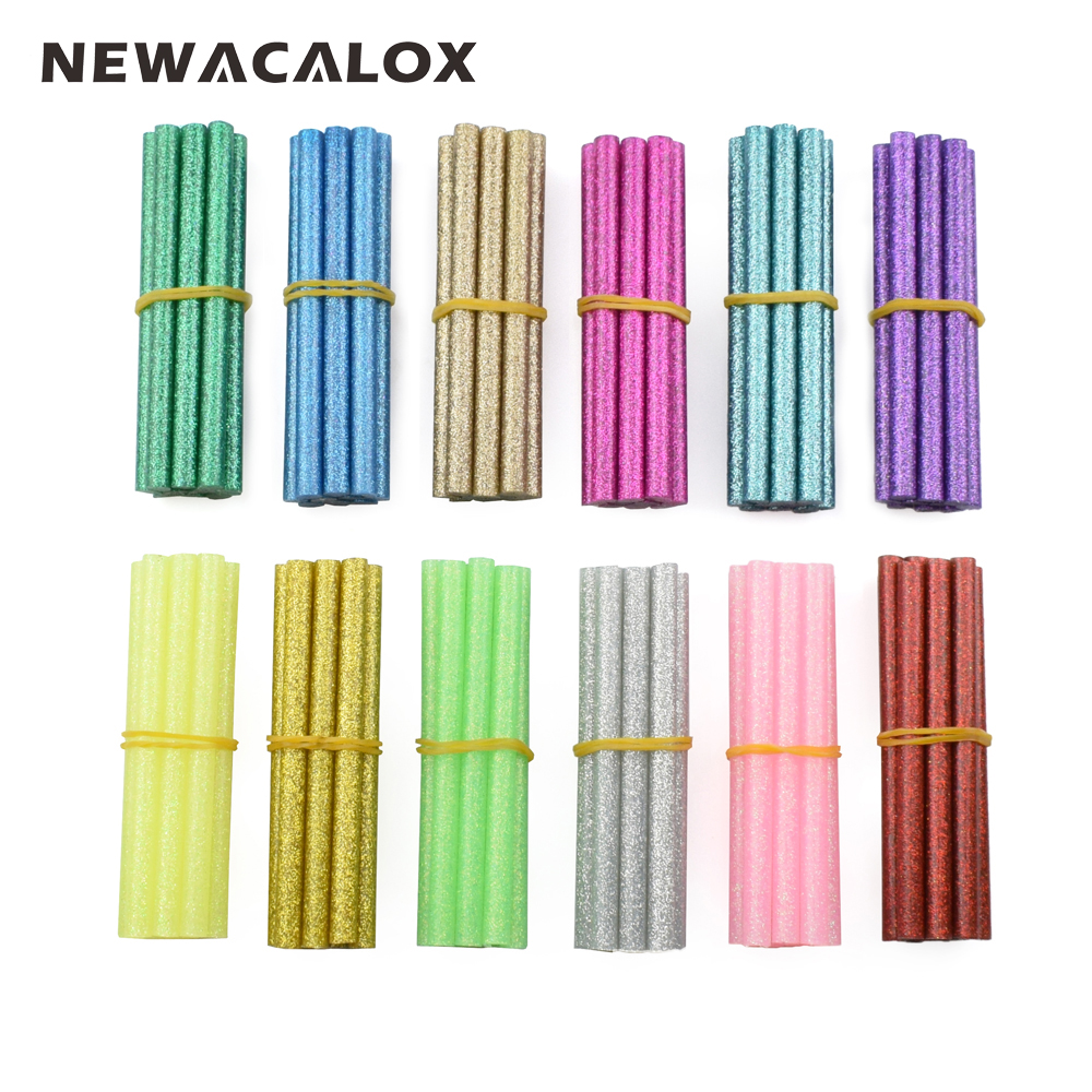 NEWACALOX 120pcs/lot Colored Hot Melt Glue Stick Rod 7mm For Glue Gun High Viscosity Adhesive Pen DIY Art Craft Hand Repair Tool diy hot melt adhesive glue gun stick 10 pcs