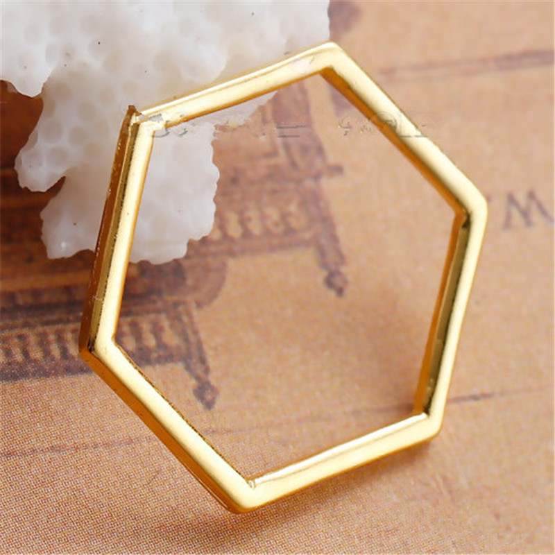 8Seasons Zinc Based Alloy Connectors Findings Honeycomb Gold Plated Hollow DIY Components 22mm( 7/8