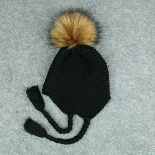 9cdeb5b3dc5 ... Baby Kids Fur Pom Hat Baby Accessory Bobble Cap Newborn Boys Girl Warm  Knit Beanie Hat ...