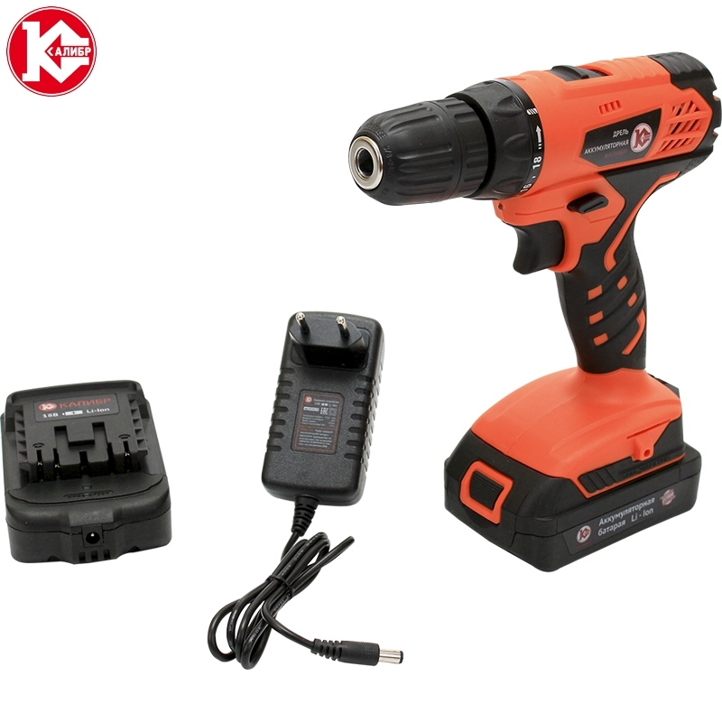 Cordless drill with Lithium battery Kalibr DA-18/2+ (18B, 2 Li-Ion Battery, 2 speed) screw driver, power tools mini drill high quality 14pcs power nut driver adapter drill bit set metric socket wrench screw 1 4 inch hex shank quick change screwdrive