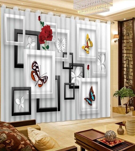 Benutzerdefinierte Fenster Vorhang Foto rose schmetterling Moderne ...