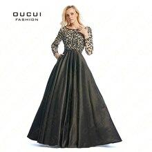 Long Sleeves robe paillette crystal Woman robe de soiree manche longue Long Prom font b Dress