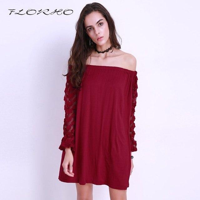 2018 New Women Sexy Mini Dress Off Cold Shoulder Plus Size Loose Elegant  Long Sleeve Leisure a722bfa938ca