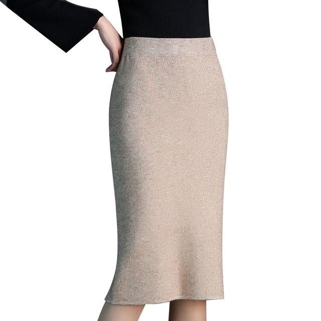 469d235234 Knit Woollen Pencil Skirts Womens 2018 New Autumn Winter Black Apricot  Elastic Waist Wrap Skirt Slim Office Lady Mid Long Skirts