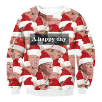 Funny Donald Trump Wearing Xmas Hat Print Ugly Christmas Sweatshirts For Women And Men Crewneck A