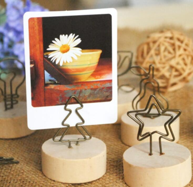 Creative Natural Wooden Place Card Holder / Photo Clip Holder DIY Memo Clips Wedding Table Decoration Favors