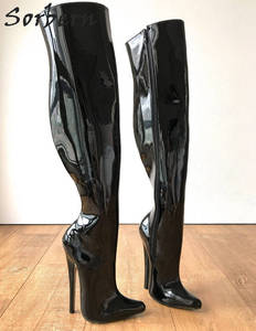 Image 2 - Sorbern 65cm קשיח פיר מותאם אישית עגל אמצע ירך 18cm פגיון אתחול שחור פטנט נשים נעליים גבוהה עקבים חדש רך פנימי מגפיים