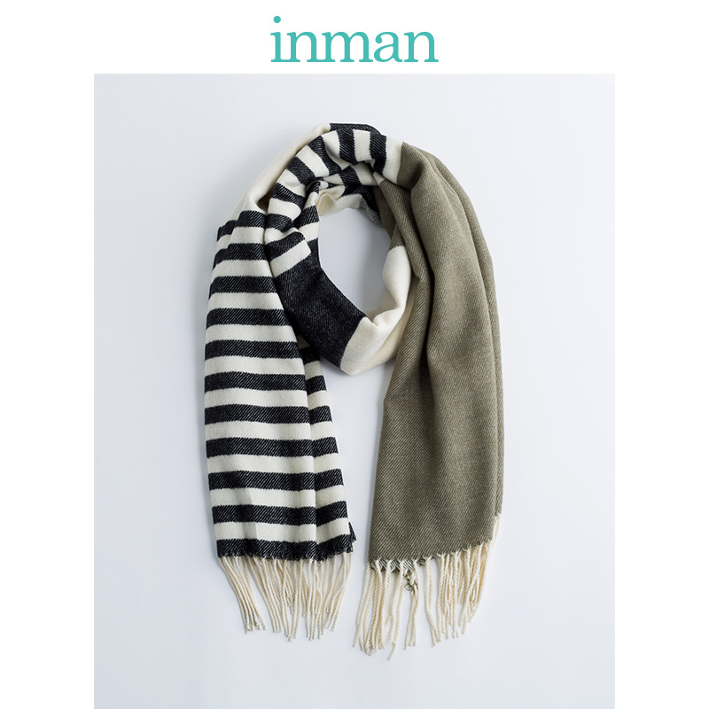 INMAN Winter Artistic Women Simple Design Contrast Color Korean Style All Matched Tassel Decoration Lady Scarf