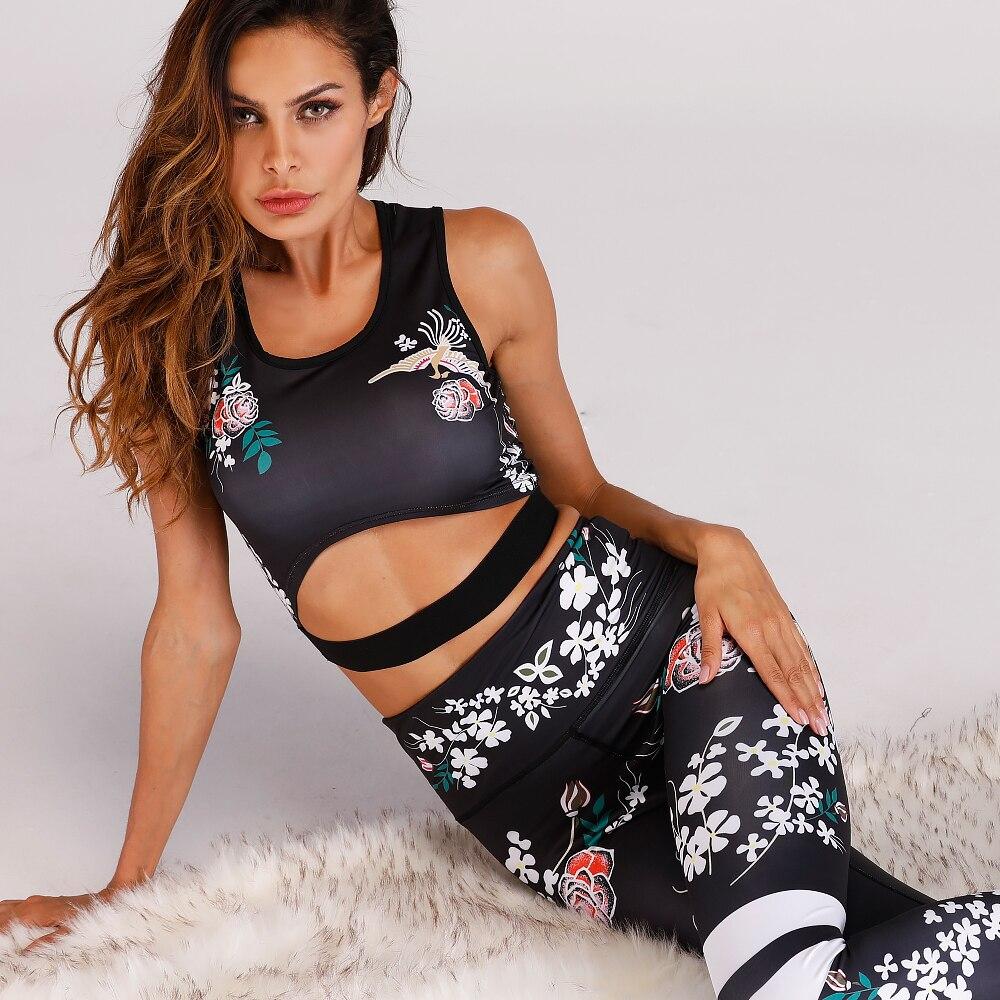 2018 New Hot Floral Printed Yoga Set Workout Set Female