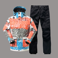 GSOU снег Для мужчин лыжная куртка брюки сноубордические Лыжный Спорт костюм Водонепроницаемый ветрозащитный дышащий супер теплая одежда му