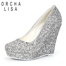 ORCHALISA Brand Women High Heels Wedges Shoes Prom Wedding Shoes Lady Bling  Platforms Silver Glitter Rhinestone Bridal ShoesJ013 a155703f1