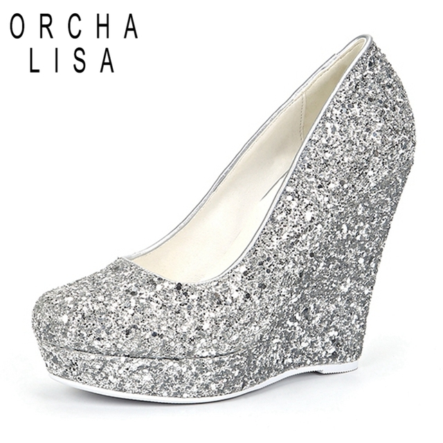 db2eb704aaf3c ORCHALISA Brand Women High Heels Wedges Shoes Prom Wedding Shoes Lady Bling  Platforms Silver Glitter Rhinestone Bridal ShoesJ013