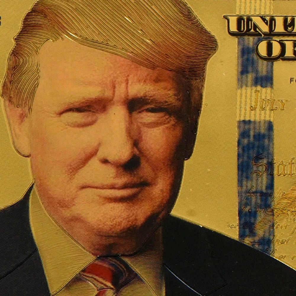10 pcs Pacote Presidente Donald Trump Colorized $100 Dólar Folha de Ouro Banknote Moeda Coleções Presente CA