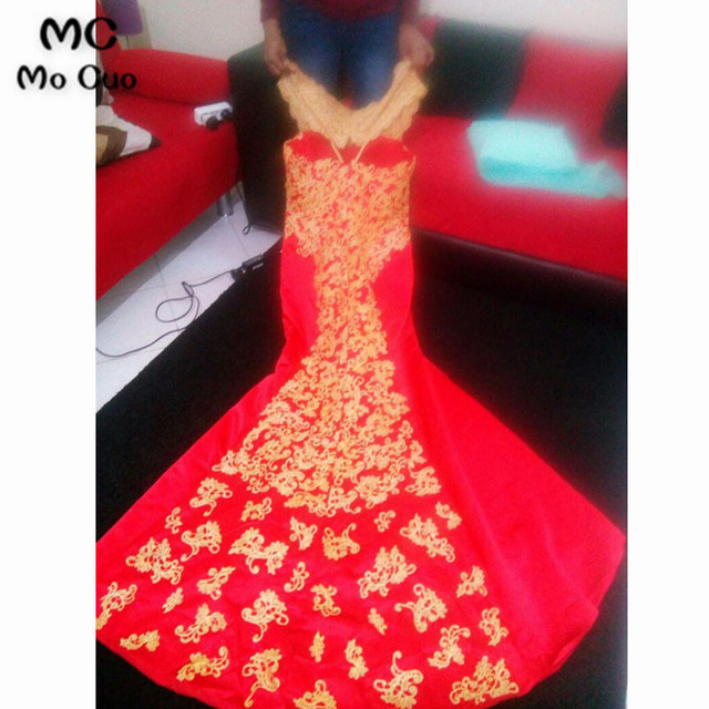 2021 African Mermaid Prom Dresses with Gold Embroidery Floor Length Women Blue Evening Gown Prom Party Dress 2