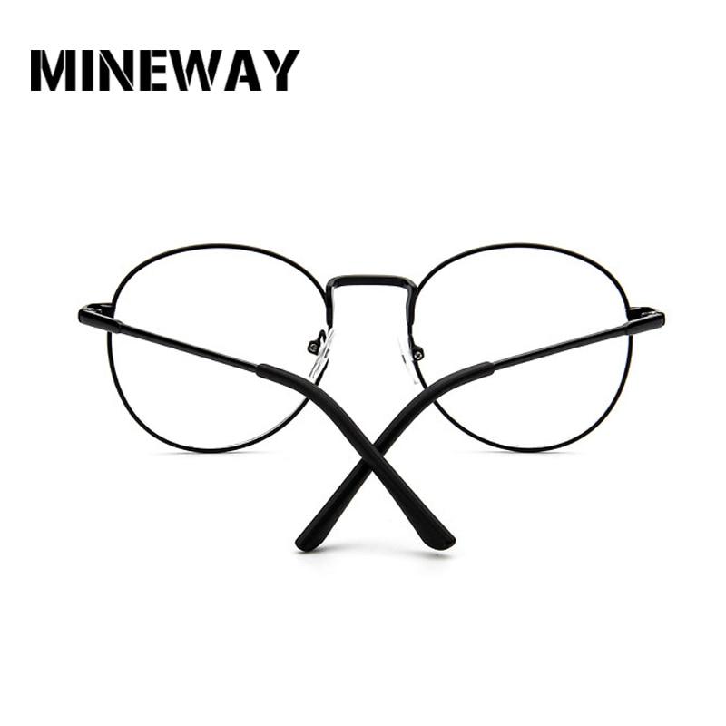 MINEWAY Round Mirror Sun Glasses for Women Men Retro Metal Frame Eyeglasses Sunglasses Male Female Optical Glases Clear Lens