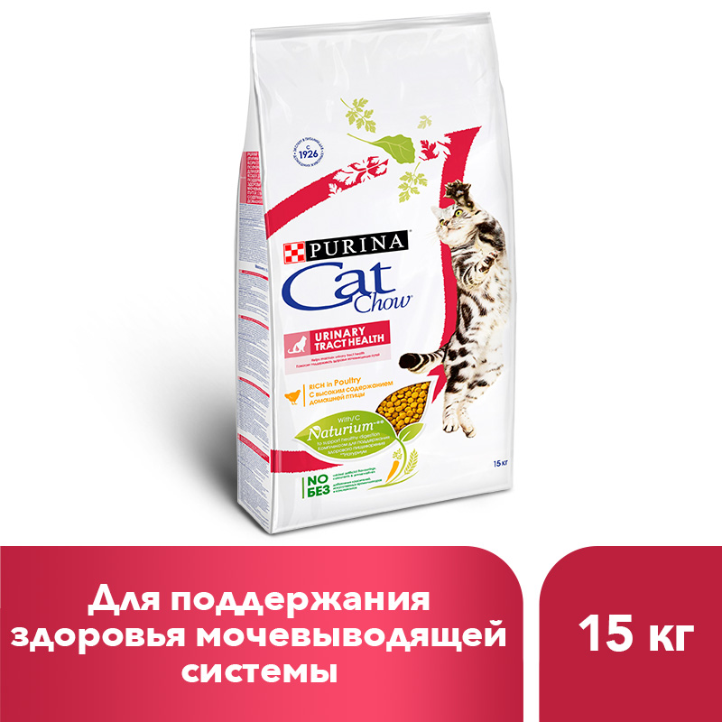 Dry food Cat Chow for adult cats ensures urinary tract health, 15 kg bacteriology of urinary tract infection