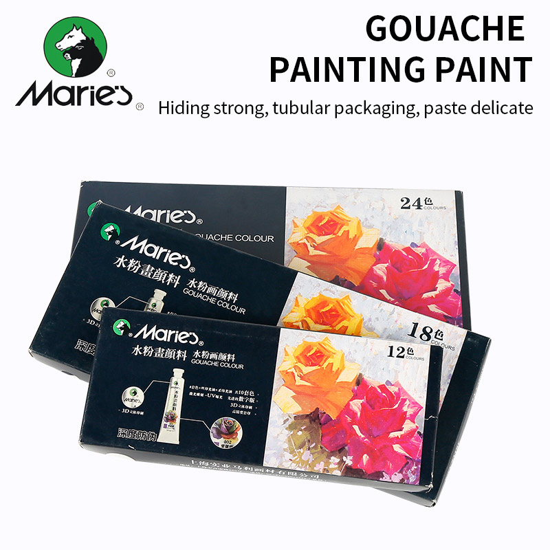 Marie's 12/18/24/36Colors Gouache Painting Paint Set High Quality Transparent 12ML Gouache Pigment For Artist School Student