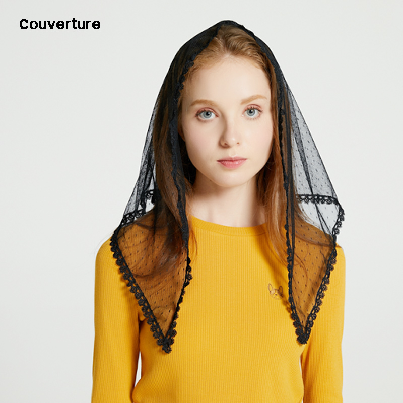 Couverture Design Women Fashion Headband Mantilla For Church Ivory Lace Mantilla Veil Chapel Catholic Mass Triangle Scarf Hijab