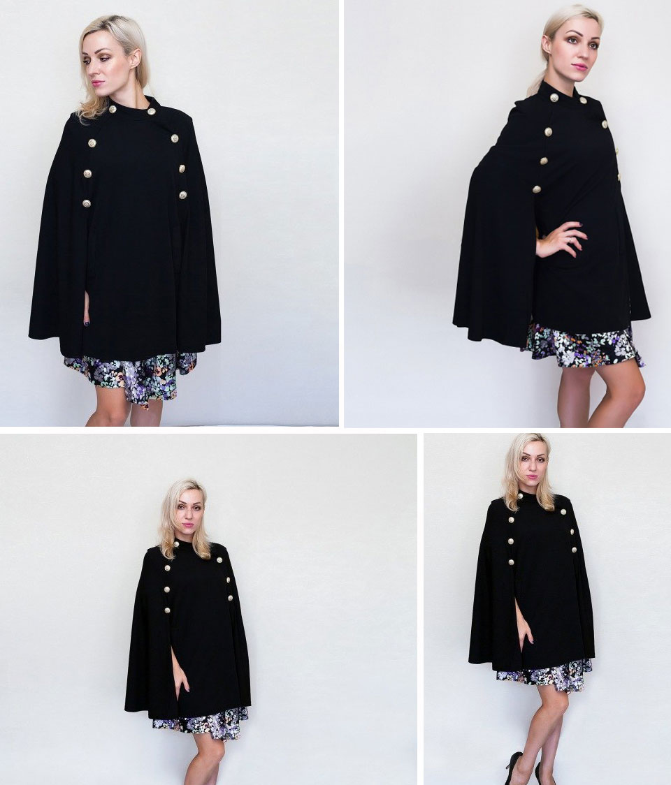 7b79127461 SHEIN Black Highstreet Office Lady Double Button Mock Poncho Solid ...