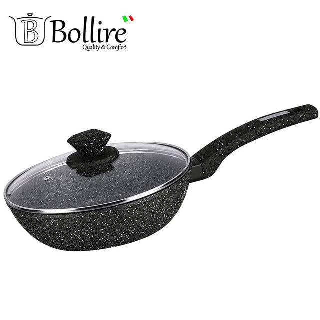 BR-1010 Глубокая сковорода Bollire 28 см, Подходит для всех видов плит, включая индукционные, Внутреннее покрытие PFLUON Marble - трехслойное, износостойкое антипригарное покрытие, Технология дна-FULL INDUCTION BOTTOM