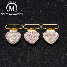 MIYOCAR 10pcs/lot unique design bling crown heart shape gold pacifier clip dummy holder good quality SP023