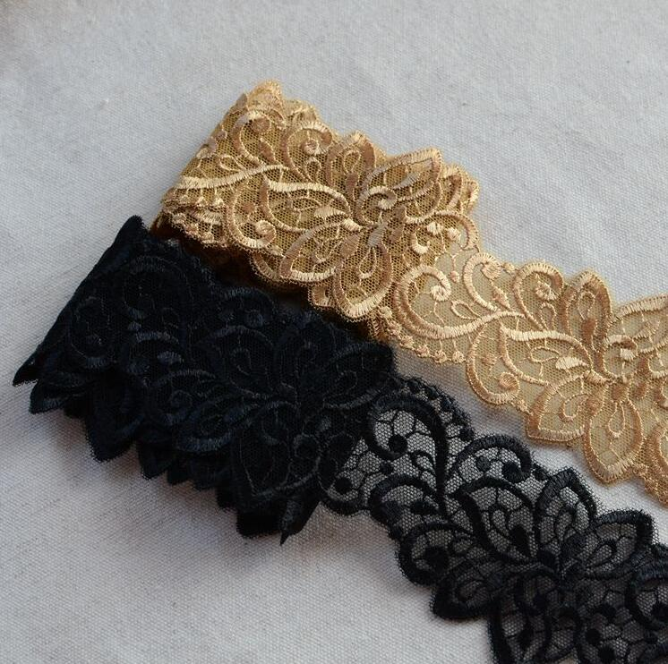 2 Meters Gold Red Black Color Embroidered Lace Wedding Dress Accessories Lace Trim Beautiful Lace Fabric