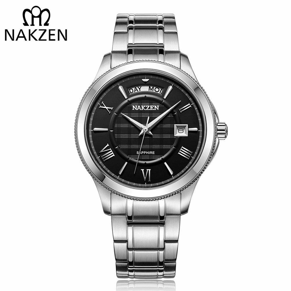 Nakzen marca de luxo relógios masculinos negócios clássico vestido masculino relógio quartzo wirst relógio masculino relogio erkek kol saati