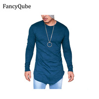 FancyQube 2017 New Street Wild Male T Shirt Long Section Round Neck Long Sleeved Bottoming Top