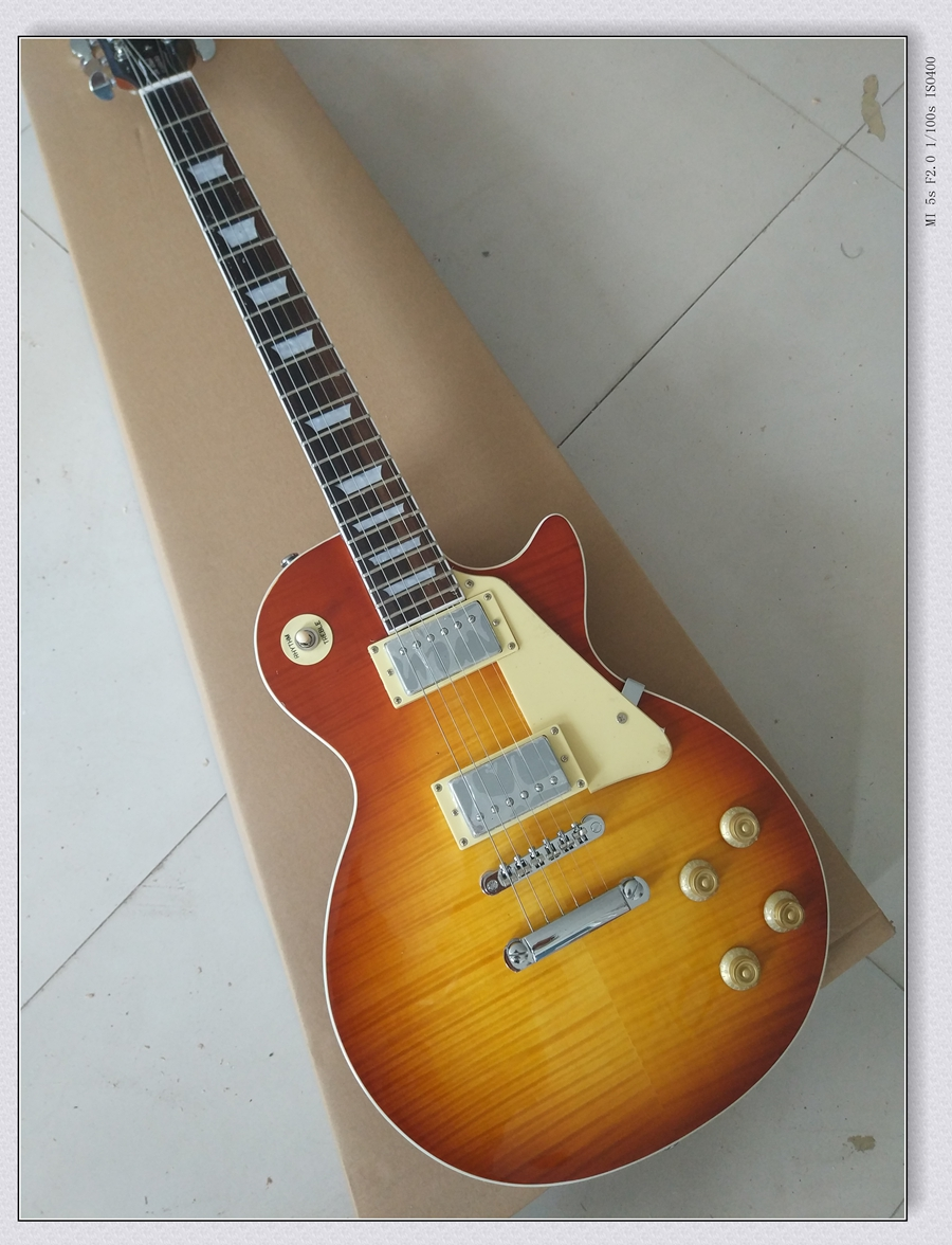 NEW 1959 Tiger Flame electric guitar Standard LP electric guitar in stock EMS free shipping made in china the best variety of lp electric guitar can be customized ems free shipping and solve any problems