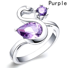 Fashion Luxury Design Fashion Swan Shaped Copper  Big Zircon Crystal Rings For Women Engagement Jewelry Gift Rings