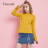Ynncnik Sweaters For Women Solid O neck Skinny Knitted Pullovers Winter Fall Long Sleeve Jumper 2018 Casual Knitwear S1011
