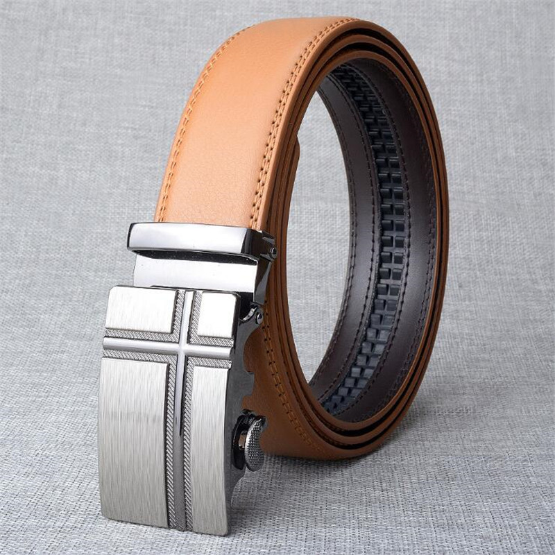 LannyQveen fashion Tan color   belt   Men's Automatic   belt   alloy cow Leather fashion   Belts   for men high quality free shipping
