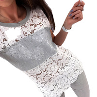 Women Hollow Out Summer Tops Crew Neck Short Sleeve Casual Fitted 2017 Lace Patchwork Sequins Tees Sexy White Shirt Top Blusas