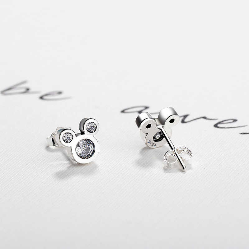 Dropshipping. exclusivo. de plata de moda color deslumbrante Mikey Mouse Push-a Pandora pendientes para las mujeres y regalo de la joyería