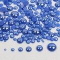 Высококачественные темно-синие 2 мм-6 мм смешанные размеры 1000 шт./партия, керамические бусины, полукруглые жемчужные с плоским основанием дл...
