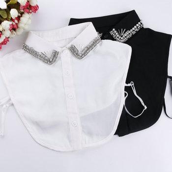Korean Style crystal Diamonds chiffon Shirt Fake Collar Women Beading Removable Peto Mujer Chemisier Daily Faux cols Garment