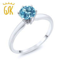 0 90 Ct Blue Topaz 14K White Gold Engagement Solitaire Ring
