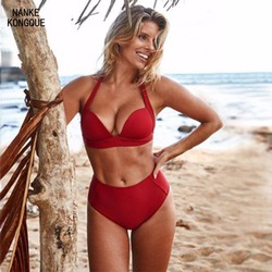 2018 Bikini Women's Swimsuit Sexy Ms. Solid Color Steel Support Gathered Bikini Hard Cup Swimsuit Two-piece Swimsuit XXL
