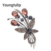 Young Tulip Elegant Crystal Flower Brooches for Women Coat Sweater Accessories Party Office Corsage Pin Fashion Jewelry New 2018(China)