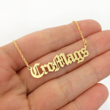Personalized Name Necklace Old English Customized Nameplate Stainless Steel Pendant Gold Necklaces Chain