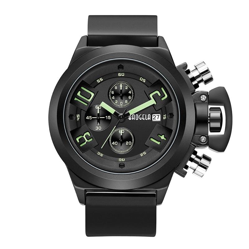 BAOGELA Chronograph Mens Watches Black Fashion Quartz Watch New Relogio Masculino Gifts Sport Wristwatch