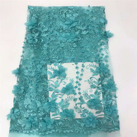 New Fashion French Style Turquoise Blue Nigeria Bridal Embroidered Tulle Beaded Fabric 3d African Laces X653 6