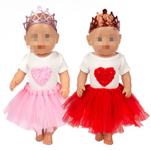 Born New Baby Fit 18 inch 43cm Clothes For Doll Red Star and Pink Star BirthdayCrown Suit Doll Clothes accessories For Baby Gift born new baby fit 18 inch 43cm clothes for doll blue pink red star with hairhand clothes accessories for baby birthday gift