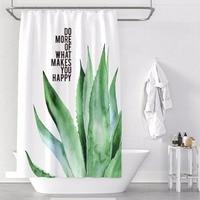 Custom Made Shower Curtain Bathroom Curtain Partition + Hooks 1.2/1.5/1.8/2x1.8m 1.5x2m 1.8x2m 2x2m 2.4x2m Green Leaves White