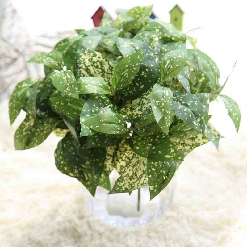 1pc 5 heads Artificial Plant Milan Leaf Leaves Branch Home Garden Decoration Simulation Plant DIY Flower Arrangement Wedding