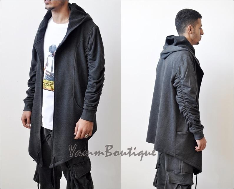 Assassin's Creed surdimensionné capuche Cardigan Kimono Wrap veste/cape, corde longue asymétrique futuriste Cosplay Maxi Steampunk